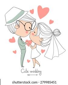 Bride and groom. Cute vector wedding card