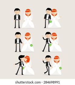 Bride and groom as design elements in one image