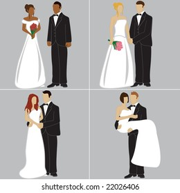 Bride and Groom in different poses, wedding couple vector