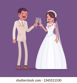 Bride and groom enjoy drinks on wedding ceremony. Latin American man, woman in beautiful dress on traditional celebration, married couple in love. Marriage customs and traditions. Vector illustration