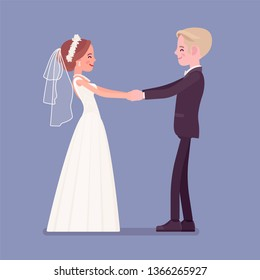 Bride and groom in a first dance on wedding ceremony. Elegant man, woman in beautiful white dress on traditional celebration, married couple in love. Marriage customs, traditions. Vector illustration