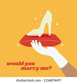 Bride and Groom flat design isolated concept, cartoon vector Proposal love story creative. cinderella glass slipper or shoe & prince hand with white glove. would you marry me background greeting card