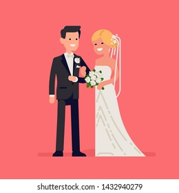 Bride and groom flat vector characters. Cheerful caucasian newlyweds standing together wearing wedding dresses. Wedding concept illustration