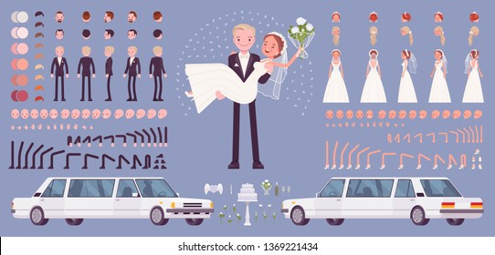 Bride and groom, happy young pair on a wedding ceremony, creation set, traditional celebration kit, decor constructor elements to build your own design. Cartoon flat style infographic illustration