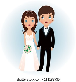 Bride and groom holding hands vector illustration