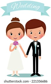 Bride and groom holding hands/Bride and groom/Illustration newlyweds are holding hands