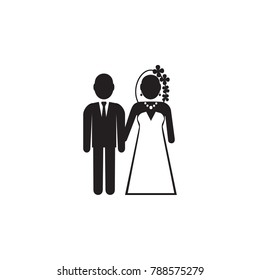 bride and groom icon. Valentine's Day elements. Premium quality graphic design icon. Simple love icon for websites, web design, mobile app, info graphics on white background