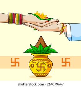 Bride and Groom in Indian Hindu Wedding in vector