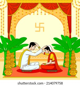 Bride and Groom in Indian Hindu Wedding in vector