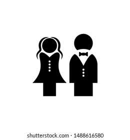 Bride and groom isolated icon on a white background.