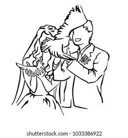 Bride and groom. Joyful wedding illustration.