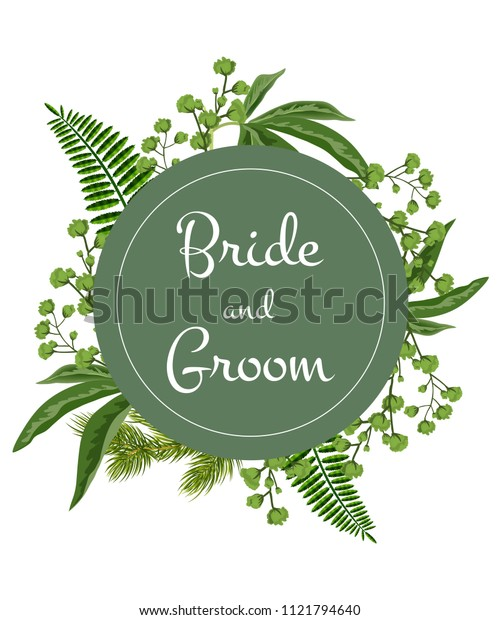 Bride and groom lettering on green circle with greenery on white background. Party, event, celebration. Wedding concept. Can be used for invitation, flyer, brochure