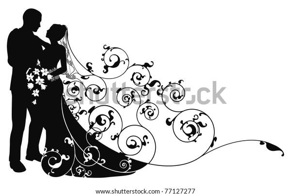Braut und Bräutigam, die sich in die Augen der anderen abstrakte Hintergrundmuster Silhouette