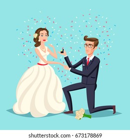 Bride and groom as love wedding couple illustration. Cartoon husband and romantic wife ceremony, female with flowers. Marriage ceremony invitation card, celebration engagement for happy people theme