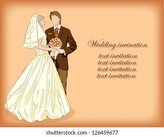 Bride and groom on background, wedding invitation
