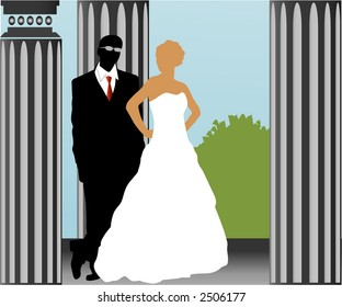 "bride and groom ""on the balcony"" vector"