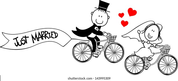 bride and groom on bycicles isolated on white background, ideal for funny wedding invitation, vector format very easy to edit, individual objects
