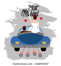 Bride and groom on a car. Just married couple. Marriage concept image. Vector illustration design