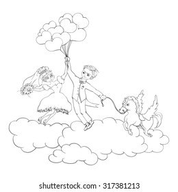 bride and groom on the clouds.