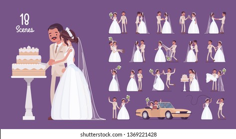 Bride and groom on wedding ceremony character set. Latin American man, woman in white dress on traditional celebration, married couple in love. Full length, different views, gestures, emotions, poses