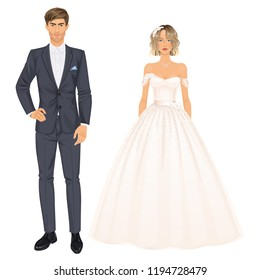 Bride and groom, paper dolls, young woman and man in beautiful wedding looks, gown and suit. Body templates, isolated vector illustration.