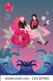 The bride and groom with a rose-shaped skirt stretch out their arms to each other sitting on a pink cloud flying over a large city in the shape of an ocean. A winged elf plays on a magic flower lyre.