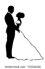 Bride and groom silhouette, vector icon, contour drawing, black and white illustration. Couple in love hugging looking at each other, dressed in a wedding dress and suit, isolated on white background