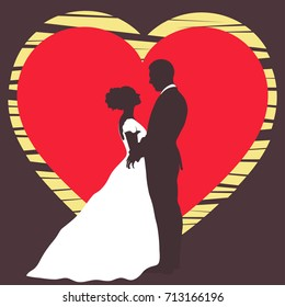 Bride and groom silhouette, wedding invitation, card, vector outline cartoon drawing. Couple in love hugging, dressed in a wedding white dress and a suit on the background of the heart