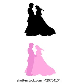 Bride and groom in silhouette, wedding symbol