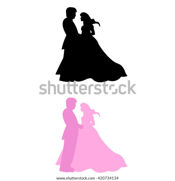 Bride Groom Silhouette Wedding Symbol Stock Vector Royalty Free 420734134