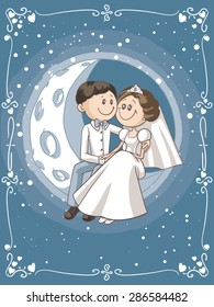 Bride and Groom Sitting on the Moon Cartoon - Vector cartoon of a newlywed couple in the sky