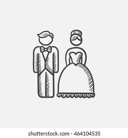 Bride and groom sketch icon for web, mobile and infographics. Hand drawn vector isolated icon.