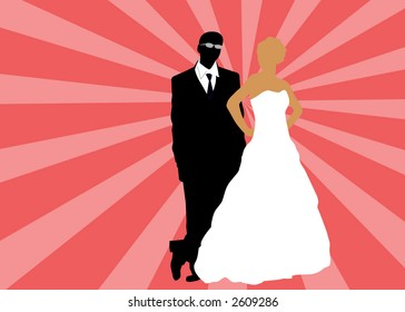 bride and groom in summer vector