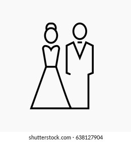bride and groom symbol  icon on gray background.Line vector illustration