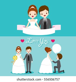 Bride And Groom With Various Actions In Wedding Clothing Set, Love, Relationship, Sweetheart, Engagement, Valentine's Day