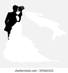 Bride And Groom. Vector Couples Silhouette for Wedding Invitation