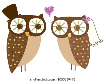 Bride and Groom vector owl artwork
