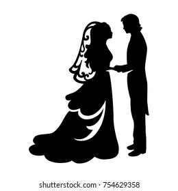 Bride and Groom wedding black silhouette on white background. Cake topper element.