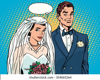 Bride and groom wedding ceremony pop art retro style. The girl in the dress of the bride. The man in the suit of the groom. Love and relationships. A man and a woman