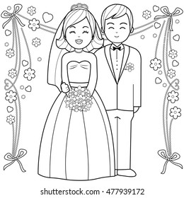 Wedding Coloring Page Outline Images Stock Photos Vectors Shutterstock