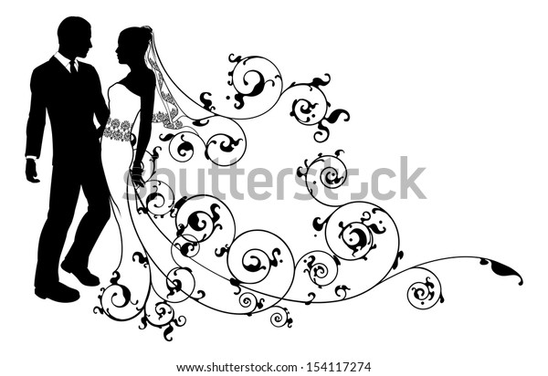 A bride and groom wedding couple in silhouette with beautiful bridal dress and abstract floral pattern. Could be having their first dance.