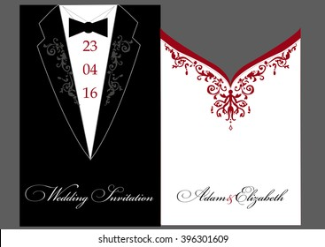 bride and groom Wedding invitation. A stylized illustration of the groom suit and bride's dress. Elegant classic.  Lace vector