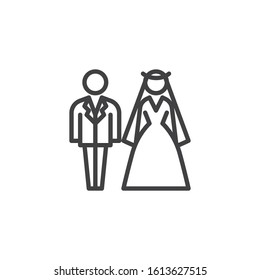 Bride and groom wedding line icon. Newlyweds linear style sign for mobile concept and web design. Wedding couple outline vector icon. Symbol, logo illustration. Vector graphics