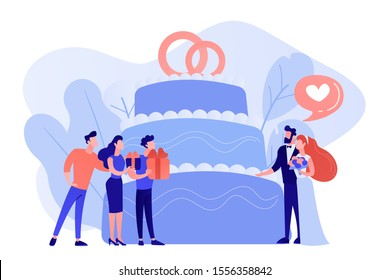 Bride and groom at wedding party and guests with gifts at big cake. Wedding party planning, bridal party ideas, bridesmaid dresses and gowns concept. Pinkish coral bluevector isolated illustration