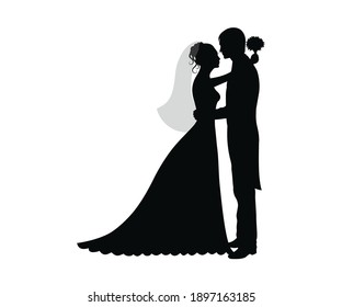 Bride and Groom wedding Romantic lovely Couple black silhouette on white background stock vector