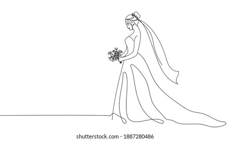Bride holding a bouquet continuous line drawing.One line bride silhouette side view wearing a wedding dress.Continuous line hand drawn vector illustration for wedding,bridal shower invitation