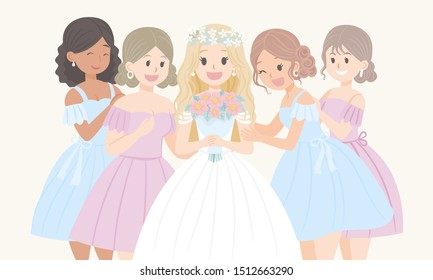 Bride holding a bouquet of flowers standing with bridesmaids happy face