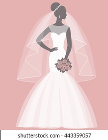 Bride holding a bouquet, vector illustration for greeting card, invitation, banner, flyer.