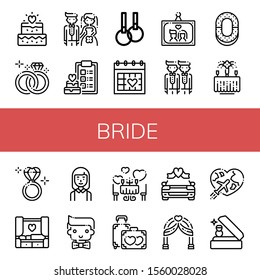 bride icon set. Collection of Wedding, Wedding ring, Bride, Rings, Wedding day, photo, Groom, Ring, Diamond ring, Bridesmaids, Romantic, Honeymoon, car, arch icons