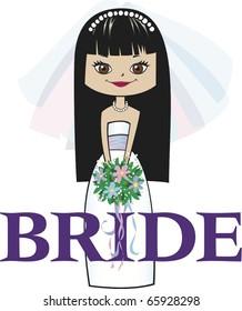 Bride with Long Black Hair Brown Eyes